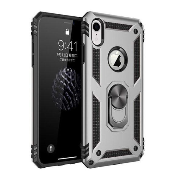 Apple iPhone XR, Műanyag hátlap védőtok, közepesen ütésálló, szilikon belső, telefontartó gyűrű, Defender, ezüst