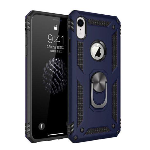 Apple iPhone XR, Műanyag hátlap védőtok, közepesen ütésálló, szilikon belső, telefontartó gyűrű, Defender, sötétkék