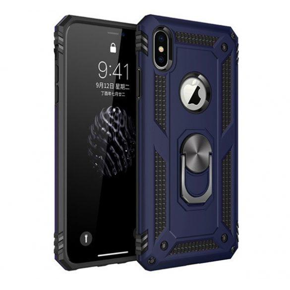Apple iPhone X / XS, Műanyag hátlap védőtok, közepesen ütésálló, szilikon belső, telefontartó gyűrű, Defender, sötétkék