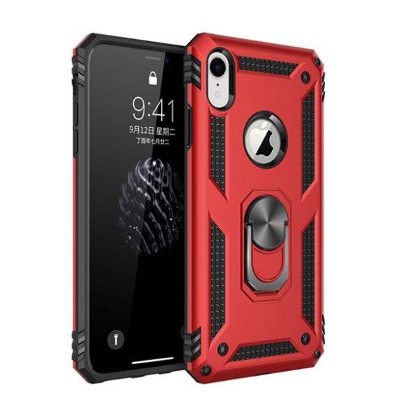 Apple iPhone XR, Műanyag hátlap védőtok, közepesen ütésálló, szilikon belső, telefontartó gyűrű, Defender, piros