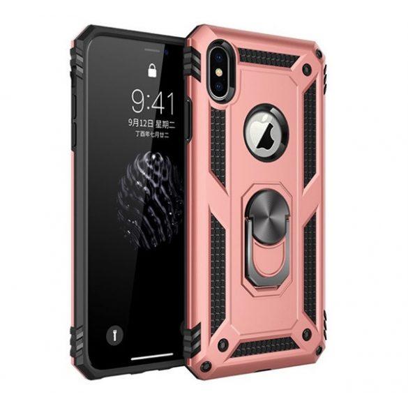 Apple iPhone X / XS, Műanyag hátlap védőtok, közepesen ütésálló, szilikon belső, telefontartó gyűrű, Defender, vörösarany
