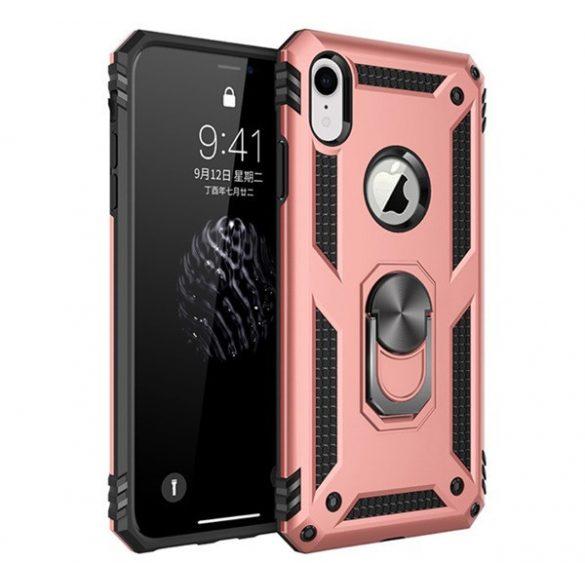 Apple iPhone XR, Műanyag hátlap védőtok, közepesen ütésálló, szilikon belső, telefontartó gyűrű, Defender, vörösarany