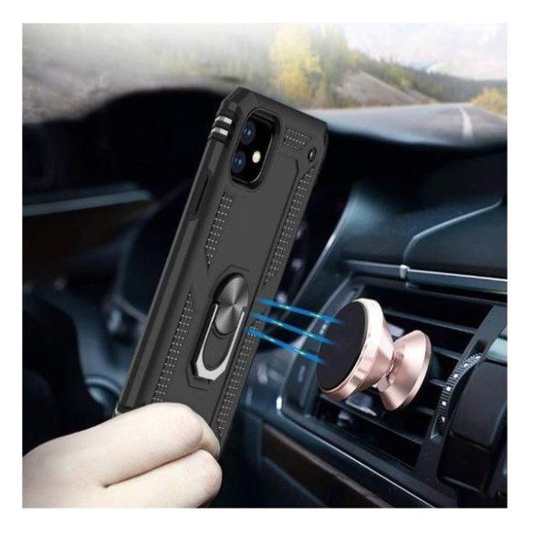 Samsung Galaxy A80 SM-A805F, Műanyag hátlap védőtok, közepesen ütésálló, szilikon belső, telefontartó gyűrű, Defender, ezüst