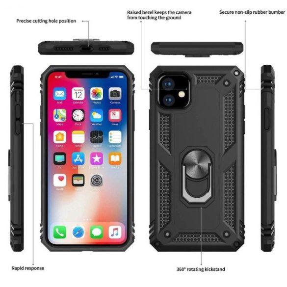 Samsung Galaxy A80 SM-A805F, Műanyag hátlap védőtok, közepesen ütésálló, szilikon belső, telefontartó gyűrű, Defender, sötétkék