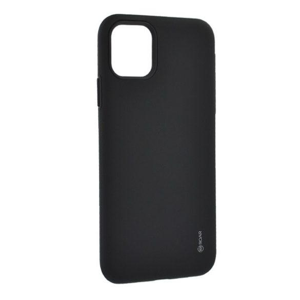 Apple iPhone 11 Pro Max, Szilikon tok, műanyag kerettel, közepesen ütésálló, Roar Rico Armor, fekete