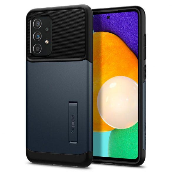 Samsung Galaxy A52 / A52 5G SM-A525F / A526B, Szilikon tok, műanyag hátlappal, kitámasztóval, Spigen Slim Armor, sötétkék